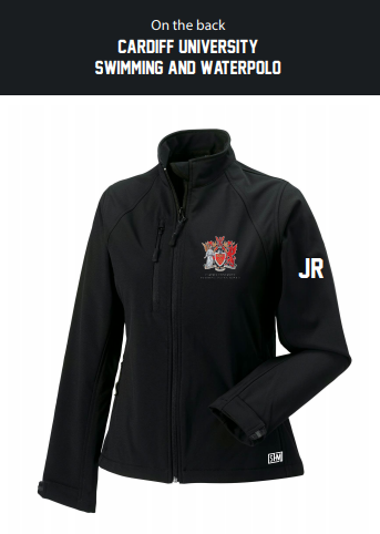Cardiff University Swim & Waterpolo Black Womens Softshell (Logo Embroidery, Everything Else Print)