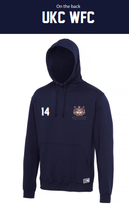 Kent University Football Navy Unisex Hoodie (Logo Embroidery, Everything Else Print)