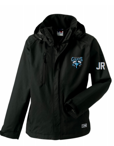 Sheffield Giants Black Mens Hydroplus Jacket (Logo Embroidery, Everything Else Print)