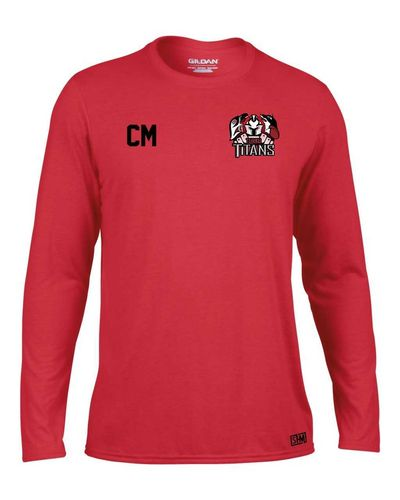 Turku Titans Red Mens Long Sleeved Performance Tee (All Print)