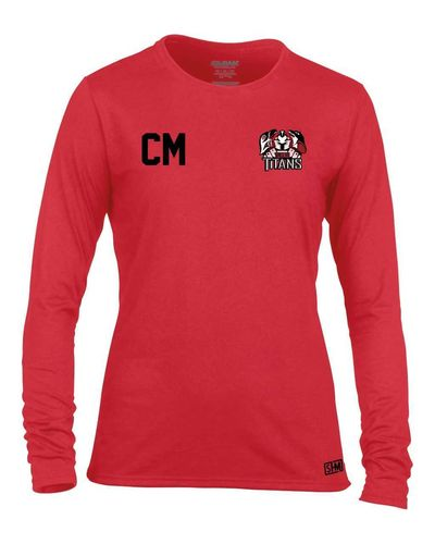 Turku Titans Red Womens Long Sleeved Performance Tee (All Print)