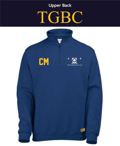 Gorse Boat Navy 1/4 Zip Sweatshirt (Logo Embroidery, Everything Else Print)