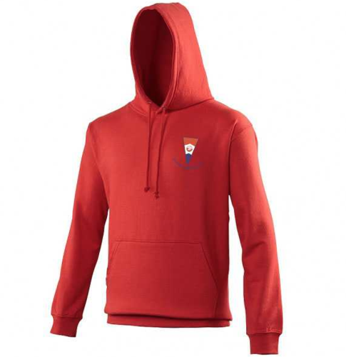 Canoe Camping Red Adult Hoodie (Logo Embroidery, Everything Else Print)