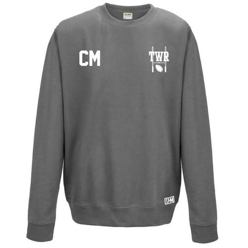 Trent Womens Rugby Steel Grey Sweatshirt (Logo Embroidery, Everything Else Print)