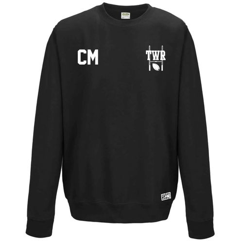 Trent Womens Rugby Black Sweatshirt (Logo Embroidery, Everything Else Print)