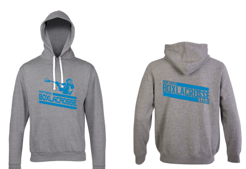 Northern Box Lacrosse League Unisex Heather Grey Hoodie (All Print) (Blue Print)