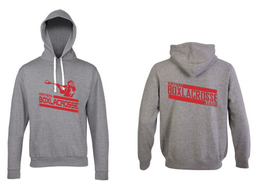 Northern Box Lacrosse League Unisex Heather Grey Hoodie (All Print) (Red Print)