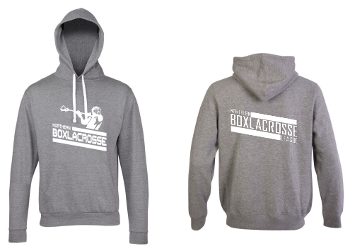 Northern Box Lacrosse League Unisex Heather Grey Hoodie (All Print) (White Print)