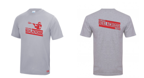 Northern Box Lacrosse League Heather Grey Unisex Performance Tee (All Print) (Red Print)