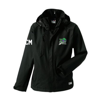 Edge Hill Basketball Black Womens Hydroplus Jacket (Logo Embroidery, Everything Else Print)