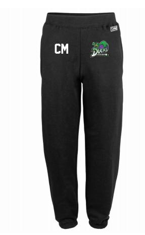 Edge Hill Basketball Black Womens Sweatpants (Logo Embroidery, Everything Else Print)