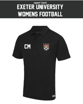 Exeter Uni Womens Football Black Performance Polo (All Print)