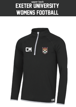 Exeter Uni Womens Football Black Performance Sweatshirt (Logo Embroidery, Everything Else Print)