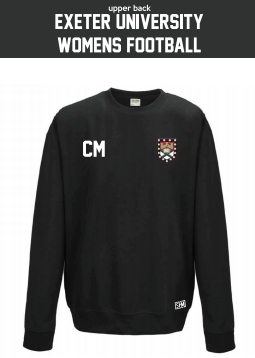 Exeter Uni Womens Football Black Sweatshirt (Logo Embroidery, Everything Else Print)