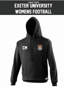 Exeter Uni Womens Football Black Hoodie (Logo Embroidery, Everything Else Print)