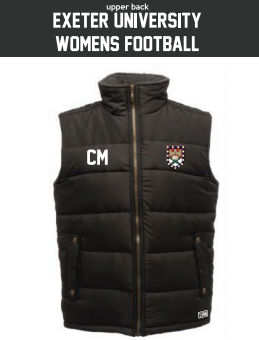 Exeter Uni Womens Football Black Gilet (Logo Embroidery, Everything Else Print)