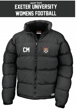 Exeter Uni Womens Football Black Puffa (Logo Embroidery, Everything Else Print)