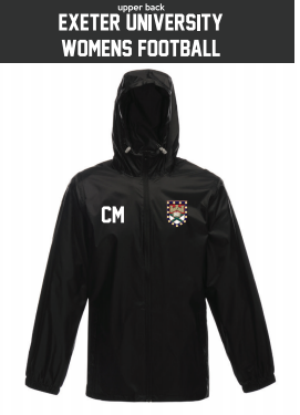 Exeter Uni Womens Football Black Windbreaker (Logo Embroidery, Everything Else Print)