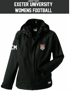 Exeter Uni Womens Football Black Hydroplus Softshell (Logo Embroidery, Everything Else Print)