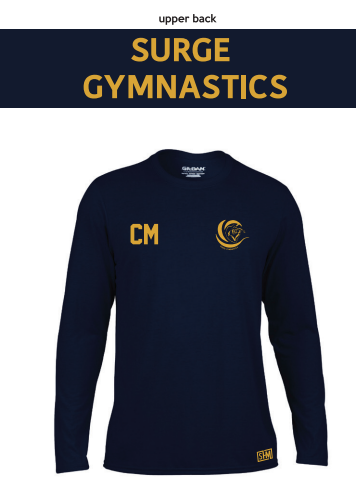 Surge Gymnastics Navy Mens Long Sleeved Performance Tee (All Print)