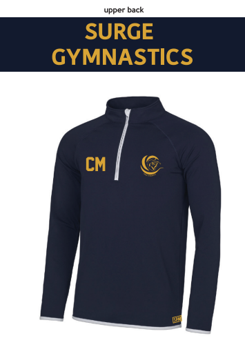 Surge Gymnastics Navy Womens Performance Sweatshirt (Logo Embroidery, Everything Else Print)