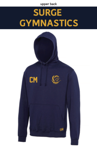 Surge Gymnastics Navy Unisex Hoodie (Logo Embroidery, Everything Else Print)