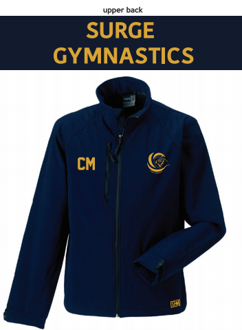 Surge Gymnastics Navy Mens Softshell (Logo Embroidery, Everything Else Print)