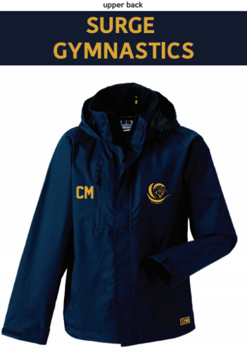 Surge Gymnastics Navy Womens Hydroplus Jacket (Logo Embroidery, Everything Else Print)