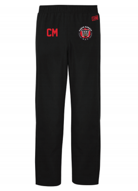 Gorse Karate Black Mens Trackies (Logo Embroidery, Everything Else Print)