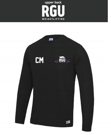 RGU Weightlifting Black Mens Long Sleeved Performance Tee (All Print)