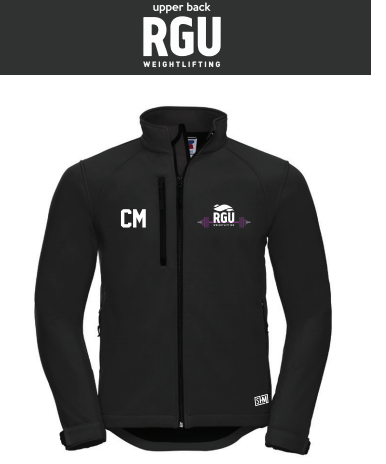 RGU Weightlifting Black Mens Softshell (Logo Embroidery, Everything Else Print)