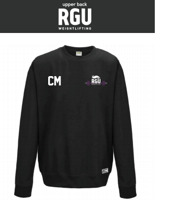 RGU Weightlifting Black Unisex Sweatshirt (Logo Embroidery, Everything Else Print)