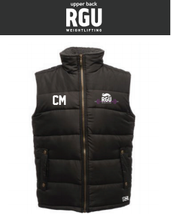 RGU Weightlifting Black Unisex Gilet (Logo Embroidery, Everything Else Print)