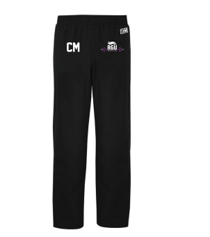 RGU Weightlifting Black Womens Trackies (Logo Embroidery, Everything Else Print)
