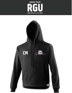 RGU Weightlifting Black Unisex Hoodie (Logo Embroidery, Everything Else Print)