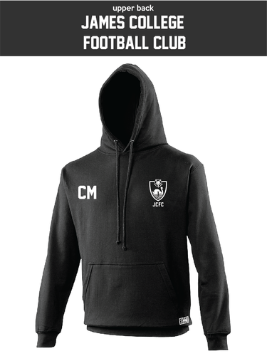 James College Football Black Unisex Hoodie (Logo Embroidery, Everything Else Print)