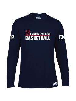 Kent Basketball Navy Womens Long Sleeve Performance Tee (All Print) (Big Front Print)