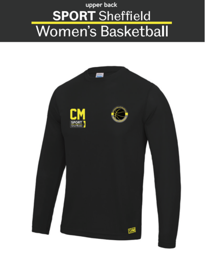 Sheffield University Womens Basketball Black Long Sleeved Performance Tee (All Print)