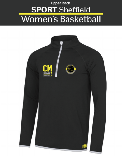 Sheffield Uni Womens Basketball Black Performance Sweat (Logo Embroidery, Everything Else Print)