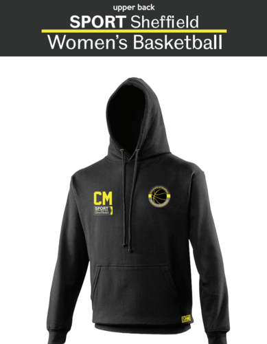 Sheffield University Womens Basketball Unisex Hoodie (Logo Embroidery, Everything Else Print)
