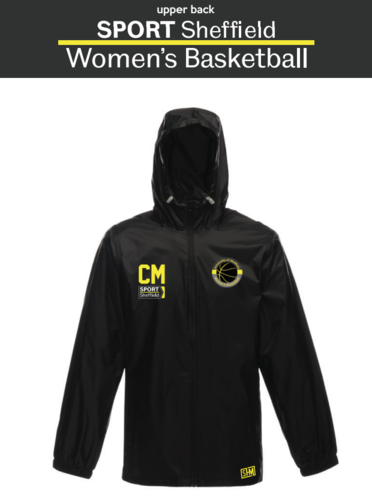 Sheffield Un iWomens Basketball Black Unisex Windbreaker (Logo Embroidery, Everything Else Print)