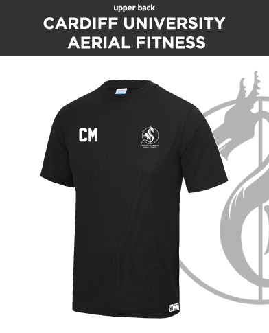 Cardiff University Aerial Fitness Black Womens Performance Tee (All Print)