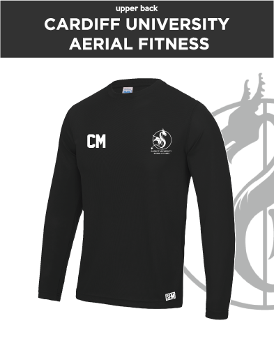 Cardiff University Aerial Fitness Black Mens Long Sleeved Performance Tee (All Print)