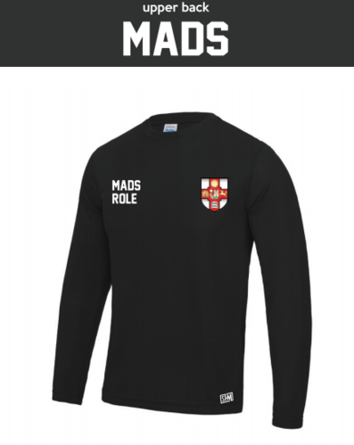 Bristol MADS Society Black Mens Long Sleeved Performance Tee (All Print)