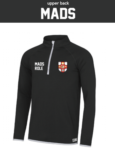 Bristol MADS Society Black Mens Performance Sweatshirt (Logo Embroidery, Everything Else Print)