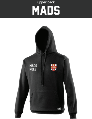 Bristol MADS Society Black Unisex Hoodie (Logo Embroidery, Everything Else Print)