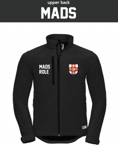Bristol MADS Society Black Mens Softshell (Logo Embroidery, Everything Else Print)