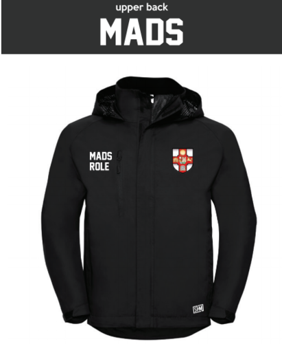 Bristol MADS Society Black Mens Hydroplus Jacket (Logo Embroidery, Everything Else Print)
