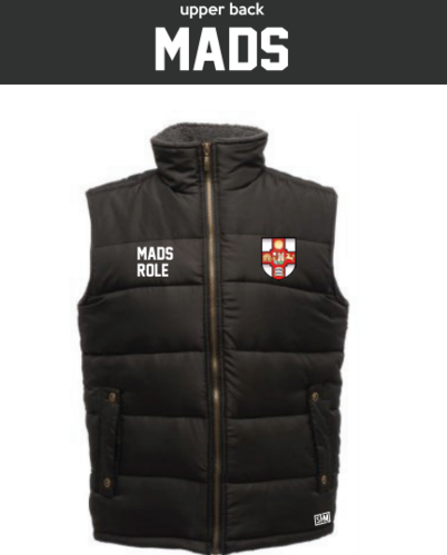 Bristol MADS Society Black Unisex Gilet (Logo Embroidery, Everything Else Print)