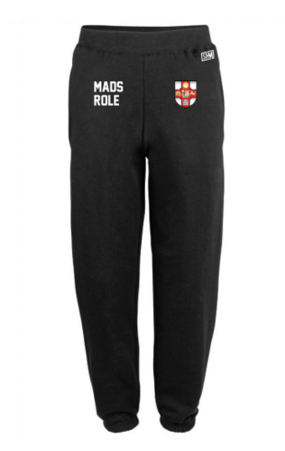 Bristol MADS Society Black Mens Sweatpants (Logo Embroidery, Everything Else Print)